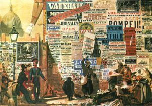 ilustración antigua sobre cartelería