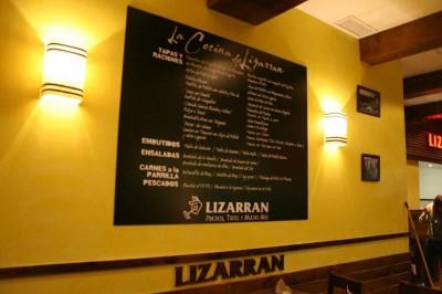 Rotulación de carta restaurante Lizarran