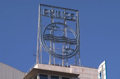 Rótulo coronación edificio Philips